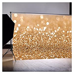 LOWER PRICE! 5x7ft Gold Glitter Sequin Spot Backdrop Vinyl Cloth Computer Printed Bokeh Party Wedding Children Newborn Photography Backgrounds Studio Prop
