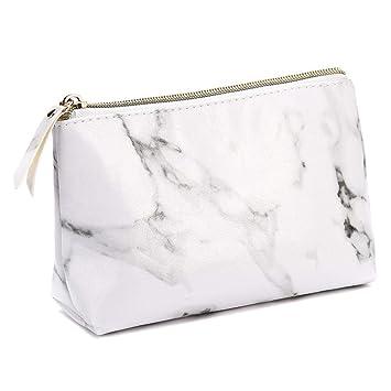 Amazon.com: Bolsa de maquillaje de mármol, estuches de ...