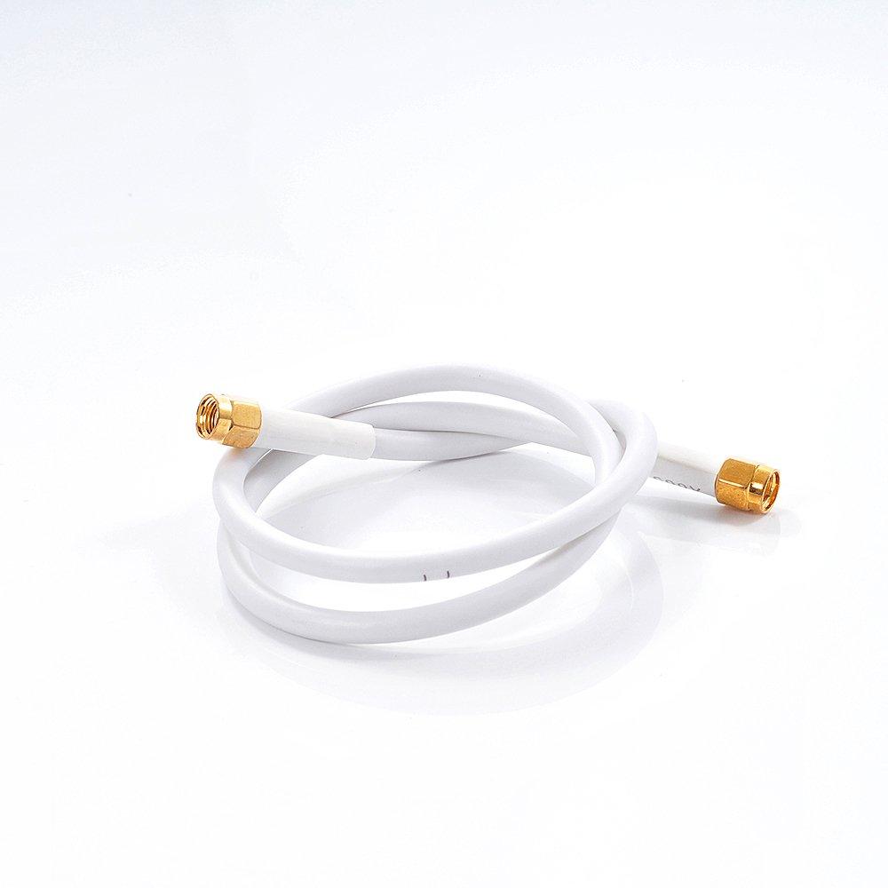 Phonetone 1.0 Metros 3.28 pies Jumper RG58 RF Cable coaxial Blanco Extensión Enchufe Crimp WiFi Antena Cable/Plomo Inalómbrico RP-SMA Macho a RP-SMA Macho ...
