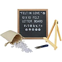 Felt Letter Board 10x10 Inch. Dark Gray Changeable Sign Letter Board with Natural Oak Frame and 340 White Plastic Letters, Emoji, Symbols, Letter Bag and Stand (Dark Gray)