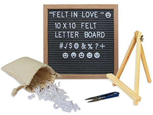 Felt Letter Board 10x10 Inch. Dark Gray Changeable Letter Board with Natural Oak Frame and 340 White Plastic Letters, Emoji, Symbols, Letter Bag & Stand (Dark - Frames Warehouse