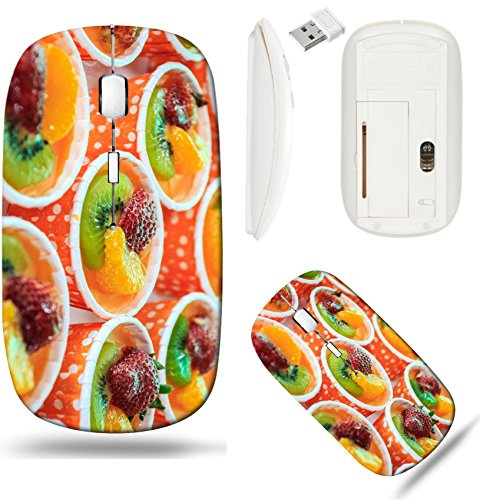 Liili Wireless Mouse White Base Travel 2.4G Wireless Mice with USB Receiver, Click with 1000 DPI for notebook, pc, laptop, computer, mac book Tiled Orange Cup Cake Photo 20695729