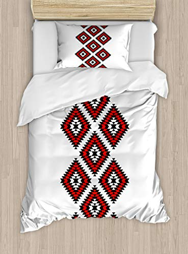 Ambesonne Tribal Duvet Cover Set Twin Size, Native Design American Style Zig Zag Aztec Motifs with Ornaments Image, Decorative 2 Piece Bedding Set with 1 Pillow Sham, Vermilion White