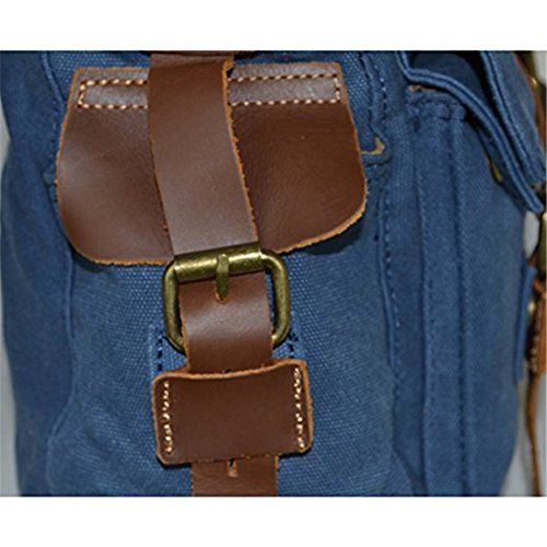 Herren Geschäft Tasche Normallack Gitter Muster Umhängetasche Verdeckter Knopf (Blau)