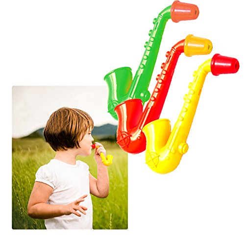 Toy Cubby Kids Toddlers Party Mini Saxophone Whistles - 4 inches, 12 pack,assorted colors