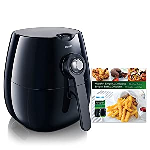 Philips Starfish Technology Airfryer with Cookbook, Black – 1.8lb/2.75qt- HD9220/28
