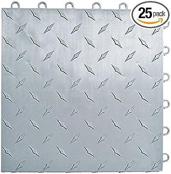 Speedway Garage Tile Interlocking Garage Flooring 6 LOCK Diamond Tile Silver 25 pack