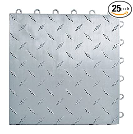 fc1d5e1c281 Amazon.com  Speedway Garage Tile Interlocking Garage Flooring 6 LOCK  Diamond Tile Silver 25 pack  Home Improvement