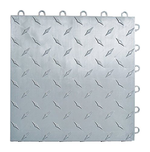 Speedway Garage Tile Interlocking Garage Flooring 6 LOCK Diamond Tile Silver 25 pack