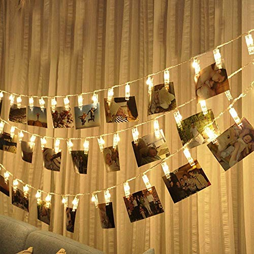LED Photo Clip String Lights 20 Clothespins 9.8FT Battery Operated Fairy String Lights Hanging Photos for Dorms Bedroom Home Party Decoration (LED Photo Clip)