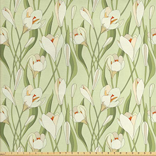 Ambesonne Garden Art Fabric The Yard, Spring Flowers Bouquet Crocuses Healthy Fresh Petals Botanical, Decorative Fabric Upholstery Home Accents, 1 Yard, Pale Green Cream Orange