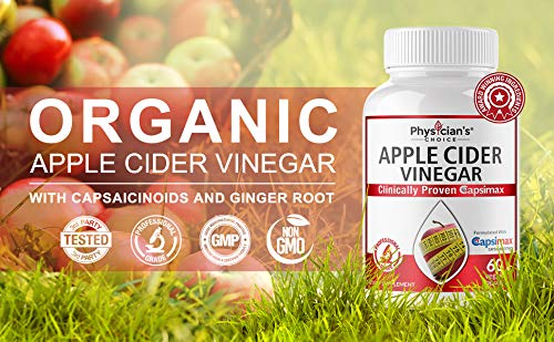 Organic Apple Cider Vinegar Capsules: Clinically Proven Capsimax Cayenne Pepper Extract - Digestion, Detox & Cleanse Pills for Women and Men, Extra Strength 1000 MG, Non-GMO Capsules