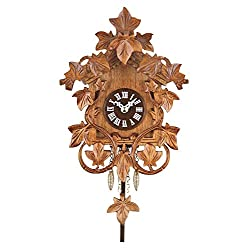 River City Clocks quartz clock with hand-carved vines and leaves, cuckoo chime, 7-1/2-inch tall