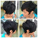 HOTKIS 100% Human Hair Thick Hair Long Bangs Short Layered Cut Wigs Glueless Short Hair Black Bob Wigs for Women (Layered Bob Style-1B#)