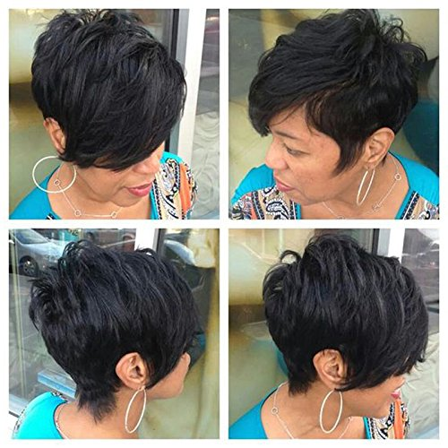 Price comparison product image HOTKIS 100% Human Hair Thick Hair Long Bangs Short Layered Cut Wigs Glueless Short Hair Black Bob Wigs for Black Women (Layered Bob Style-1B#)