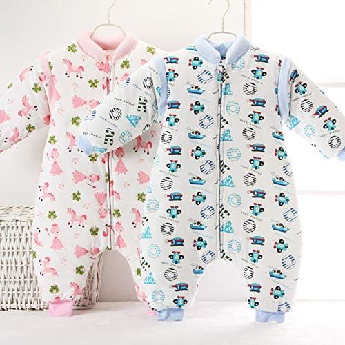AIBAB Vêtements pour Enfants Jambe Fendue Sac De Couchage Coton Enfant Pyjama Pièce Manchon Détachable Garder Au Chaud 3 Tog