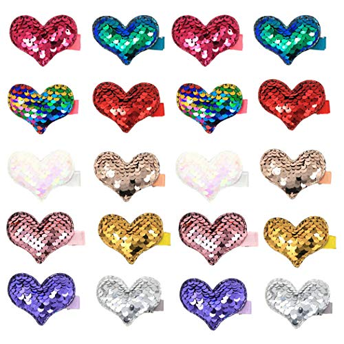 (inSowni 10 Pairs Alligator Hair Clips Twinkling Reversible Sequin Hairbow Pigtail Barrettes Set for Baby Girl Toddlers Kids (20PCS S1))