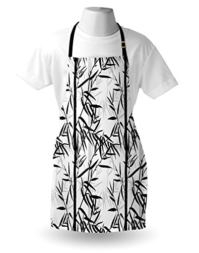 Lunarable Bamboo Apron, Abstract Forest Leaves Floral Chinese Garden Plants Zen Spa Summer, Unisex Kitchen Bib Apron with Adjustable Neck for Cooking Baking Gardening, Black Charcoal Grey White by Lunarable (Image #2)