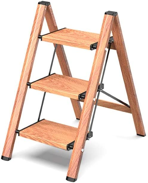 Escalera plegable Las escaleras de tijera metálica plegable, sala de estar Flower Stand Tres Pasos/cuatro peldaños de la escalera interior/Imitando textura de madera de diseño Multifuncional: Amazon.es: Bricolaje y herramientas