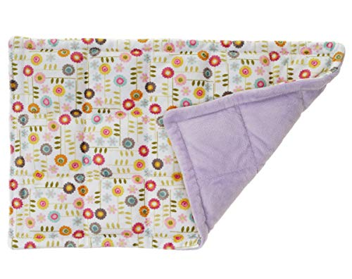 Washable Double Side Minky Weighted Sensory Lap Pad for Kids and Adults - Garden Flowers Minky Fabric, Choose Back Fabric - 1.5 lbs to 5 lbs, 4x4 Inches Pocket Size