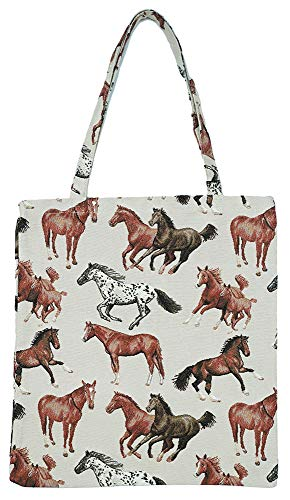 (Signare Tapestry Reusable Grocery Eco Friendly Shopping Tote Bag in Horse Design (Running Horse))