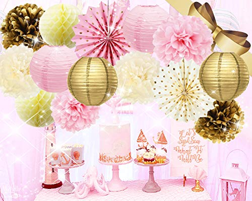 Pink Gold Baby Shower Decorations Polka Dot Paper Fan Tissue Paper Pom Pom Honeycomb Balls for Pink Gold First Birthday Party Decorations/ Bridal Shower Decorations