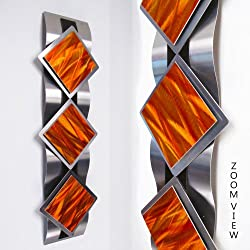 """Mystic Reflections, Inferno"" Modern Abstract Metal Wall Art Sculpture Red Orange Painting Home Decor"