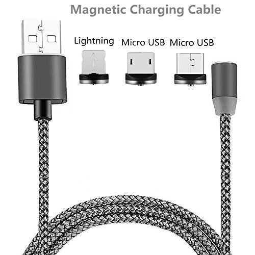 Lightning Charger Micro USB dikesitu 3-in-1 [3.6FT/2.1A] Magnetic Charging Cable with Detachable & Changable Adapters Nylon Braided Wires for Iphone 6s 7 plus 5s Samsung s7 Edge (2 Android,1 (Motorola V3 Mobile Power Cord)