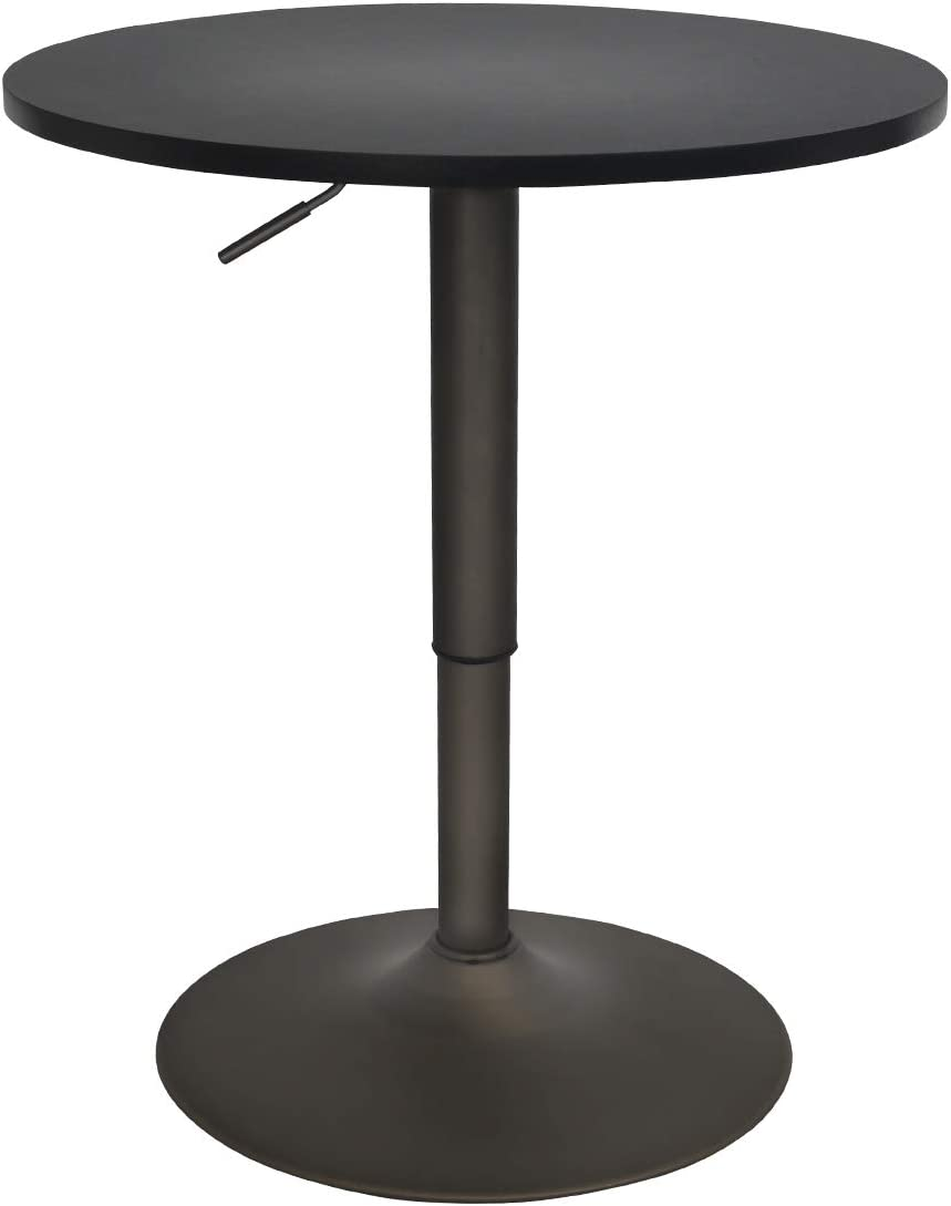 Amazon Com 24 Inches Round Bar Table Adjustable Height And Wood Cocktail Pub Table Mdf Top 360 Swivel Furniture Black Kitchen Dining