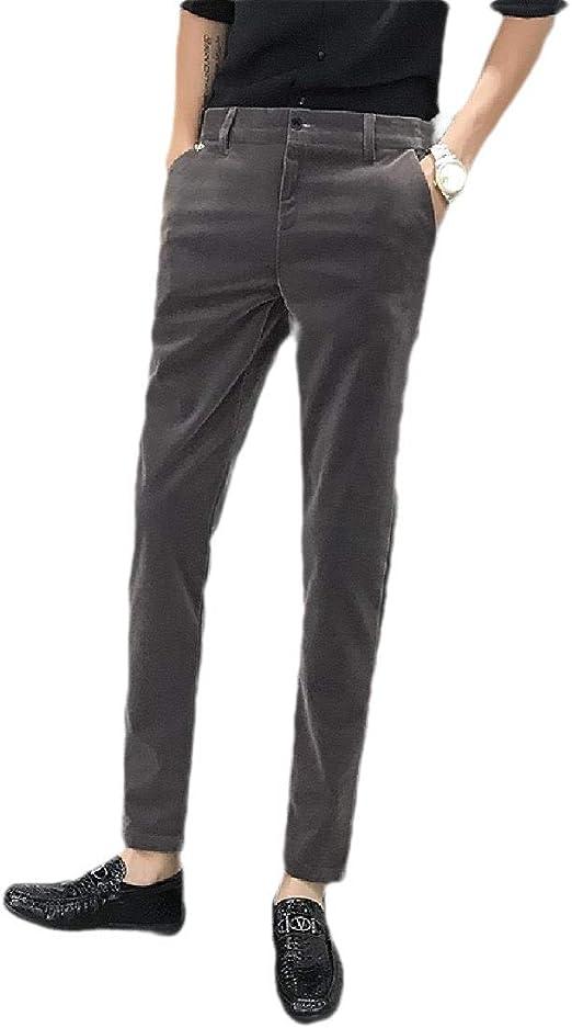 VITryst Mens Velvet Business Pockets Slim Fitted Casual Leisure Plain-Front Pant