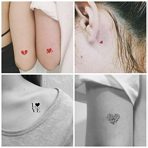 (Everjoy Red and Black Hearts Temporary Tattoos - 20 Pcs, Waterproof, Easy to Apply Body Art Tattoo Stickers for Adults, Women, Men, Kids, Boys and Girls)