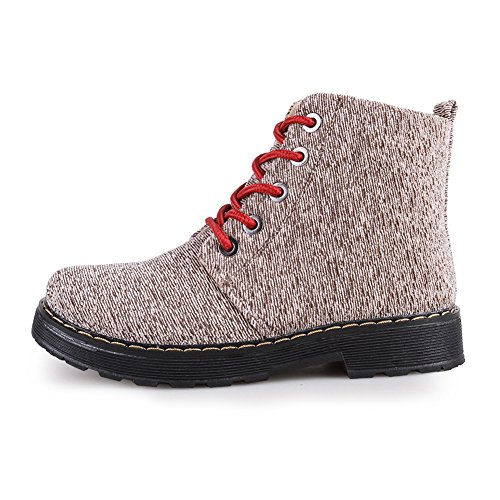 Plaid Bootie Womens Fabric Beige Snow Casual Canvas Fashion Knit up Lace Flats Boots Ankle toe Round v146xqv