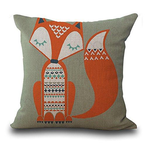 Famulei Cute Fox Animals Print Throw Pillow Cover Cartoon Home Decor Cotton Linen Printing Decorative Car Cushion Cover Pillow Case (For Living Room, Sofa, Chair, Etc)