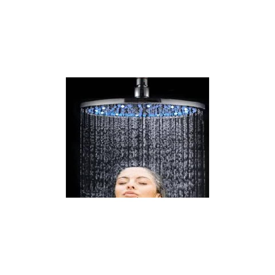 Faucetland 024002147 Wall Mount Rain Shower Faucet?build in LED Lights,chrome