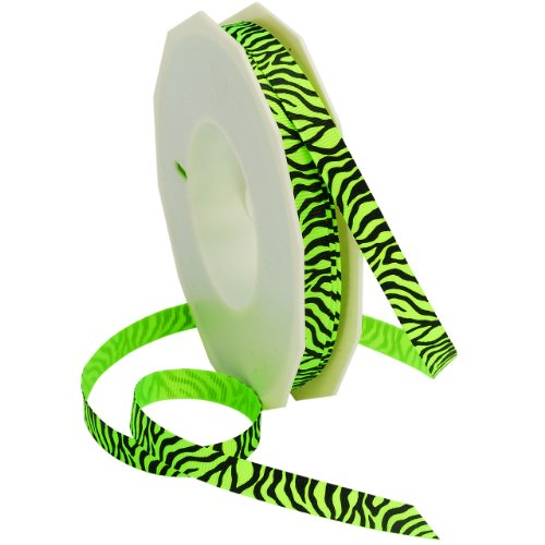 Morex Ribbon Neon Zebra Grosgrain Ribbon, 3/8-Inch by 20-Yard, Key Lime