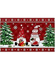 CAJJ Christmas Gnome Dwarf Doormat, Merry Christmas Welcome Sign Carpet, Indoor Outdoor Autumn Fall Greeing Front Porch Rug, Santa Claus Door Mat Decorations Ornaments for Home, Entrance, Floor