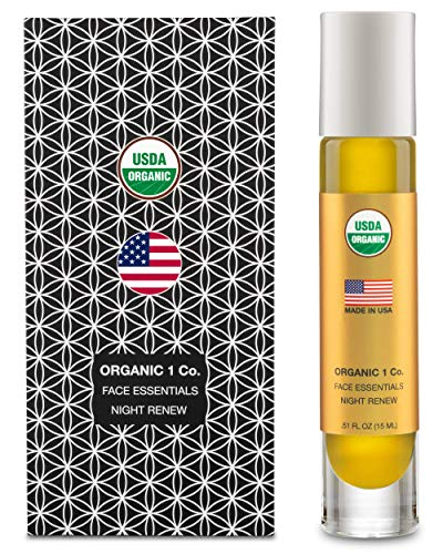 Face Essentials Night Renew Moisturizer by ORGANIC 1 Co. Non-Greasy Anti-Aging Facial Oil. Reduces Wrinkles, Repairs Elasticity, Restores Density, and Balances Oily Skin. USDA Certified, Gluten Free