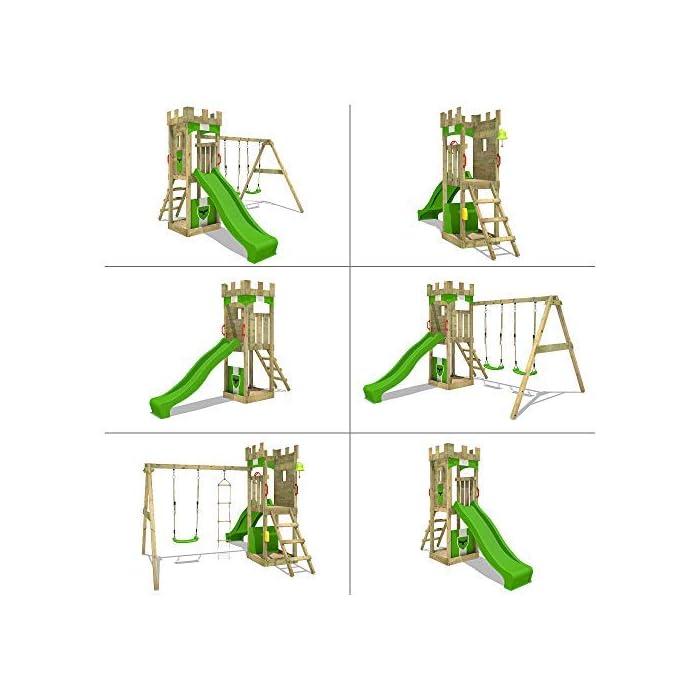 51iBB4PSzhL Parque infantil con columpio con aspecto caballeresco Madera maciza impregnada a presión - Poste 7x7cm - Instrucciones de montaje detalladas Varias opciones de montaje - Made in Germany - Todos los tornillos necesarios