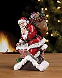 Santa Claus Climbing Down Chimney with Presents Resin Stoneware Christmas Decoration Figurine