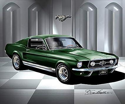 1967 Mustang Fastback >> Amazon Com 1967 Mustang Fastback Dark Moss Green Fine