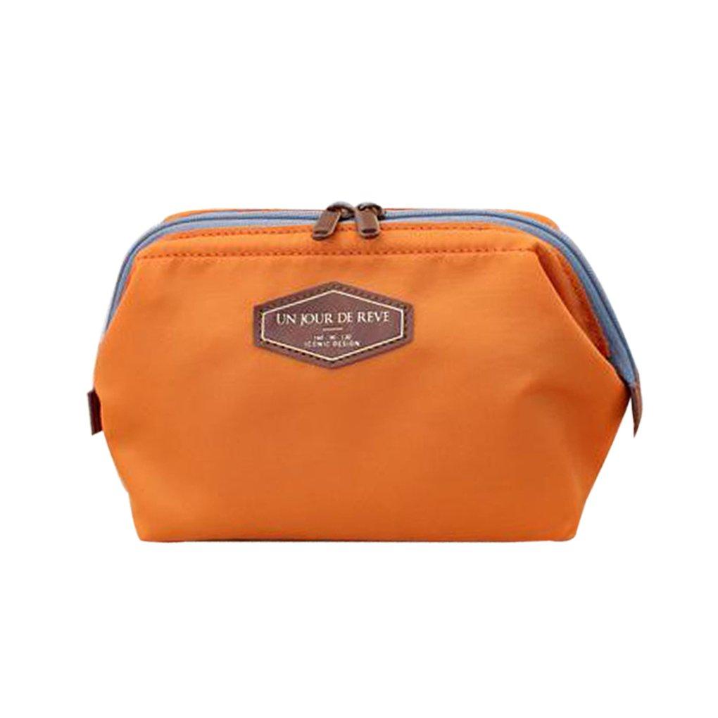 m-egal multi-use Cosmeticメイクアップトラベルケースオーガナイザーバッグポーチ B01HG99J54  オレンジ