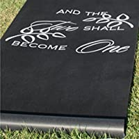 Two Become One Black Aisle Runner - 36 inches x 100 feet