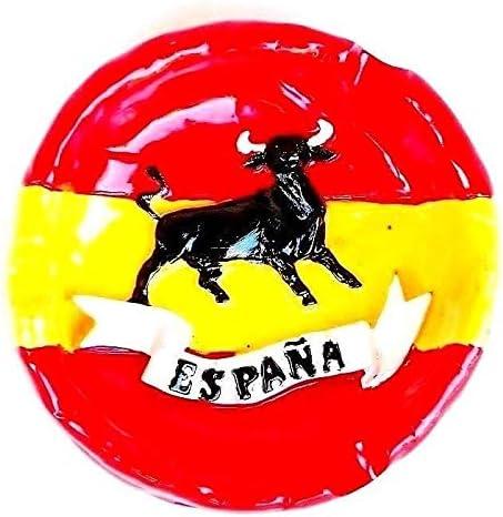 Genérico cenicero Redondo de Colores con la Bandera de España en Relieve de España 8,5 cm: Amazon.es: Hogar