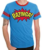 The Big Bang Theory Comic Book Type Bazinga Striped Sleeves Blue Adult T-shirt Tee