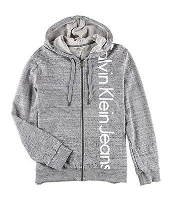 Calvin Klein Mens Vertical Logo Hoodie Sweatshirt