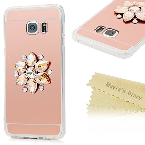 S6 Edge Plus Case,Samsung Galaxy S6 Edge Plus Case - Mavis's Diary Slim Fit Rose Golden Mirror Plating Electroplated Shock-absorption Soft TPU Back Shell with Golden Diamonds Flower Cover