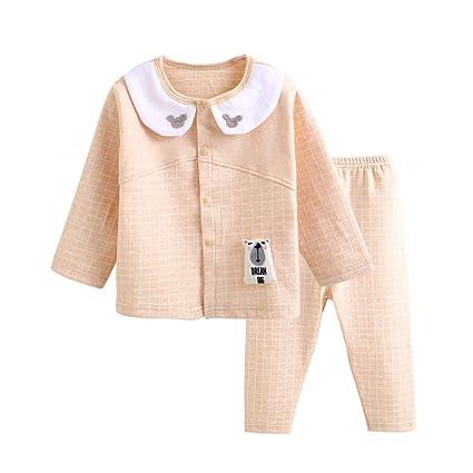 Manga larga del bebé Camisas y pantalones botón frontal ...