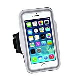 Armband For iPhone 8/8plus/7/6/6S Plus, LG G6, Galaxy s8 s7 s6 Edge s8+,Note 5.etc.CaseHQ Adjustable Reflective Velcro Sport Exercise Running Pouch Key Holder,Screen Protector-Hiking,Biking (silver)