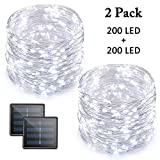 Vmanoo LED String Lights, 72 Feet 200 LED Solar Powered Copper Wire Starry Rope Lights, Indoor Outdoor Lighting for Home, Garden, Party, Path, Lawn, Wedding, Christmas, DIY Decoration, 2-PACK (White)