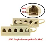 YXQ RJ11 6P4C Splitter 1 Male to 5 Female Telephone Adaper Cable 5 Way Outlet